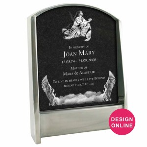 Stainless Steel headstone with granite insert