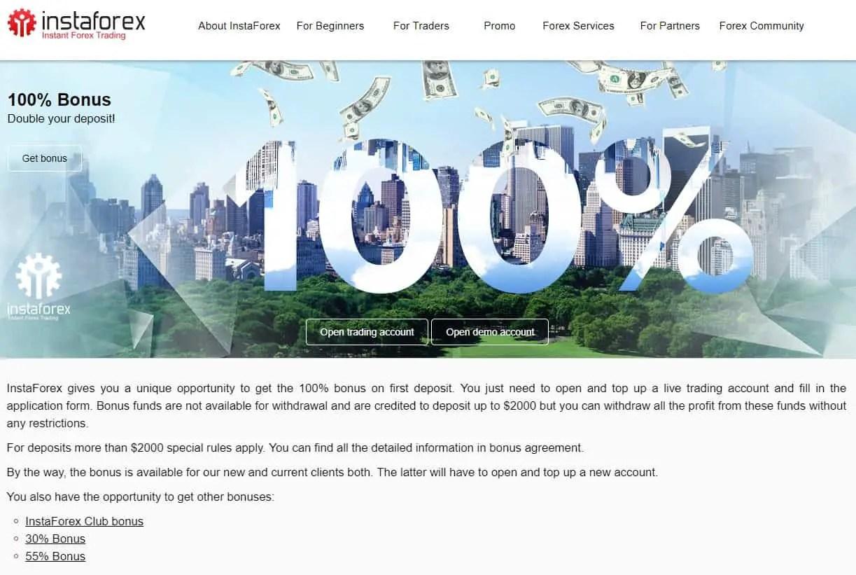 InstaForex: 100% Bonus Overeenkomst