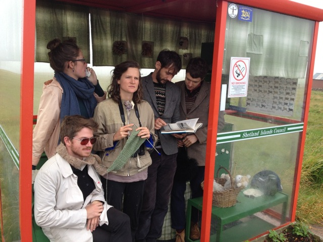 Devon Sproule tour in a bus stop