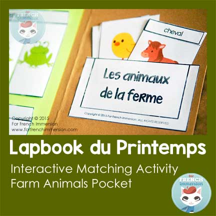 Farm animals in French - interactive matching activity