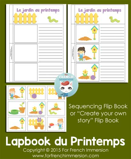 French Spring Sequencing Writing Prompt Flip Books