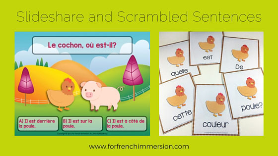 Farm Animals in French: Slideshare Quiz (prepositions and farm animals) and farm-animals-themed scrambled sentences. Phrases mêlées en français sur les animaux de la ferme.