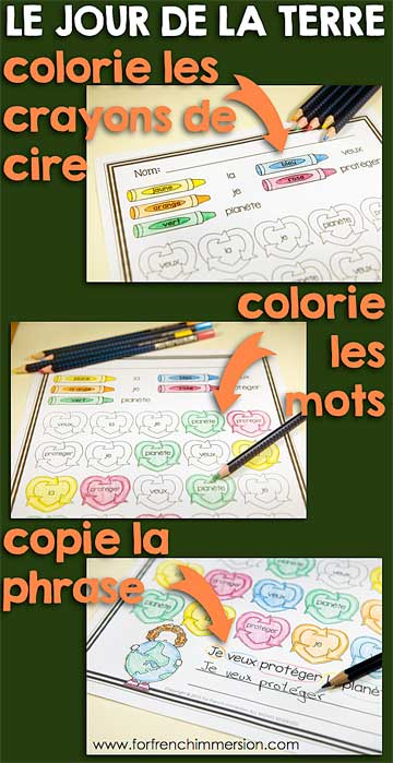 "French Earth Day Color and Read No-Prep Worksheets - to practice ""les mots usuels"" and vocabulary related to ""le jour de la Terre"""