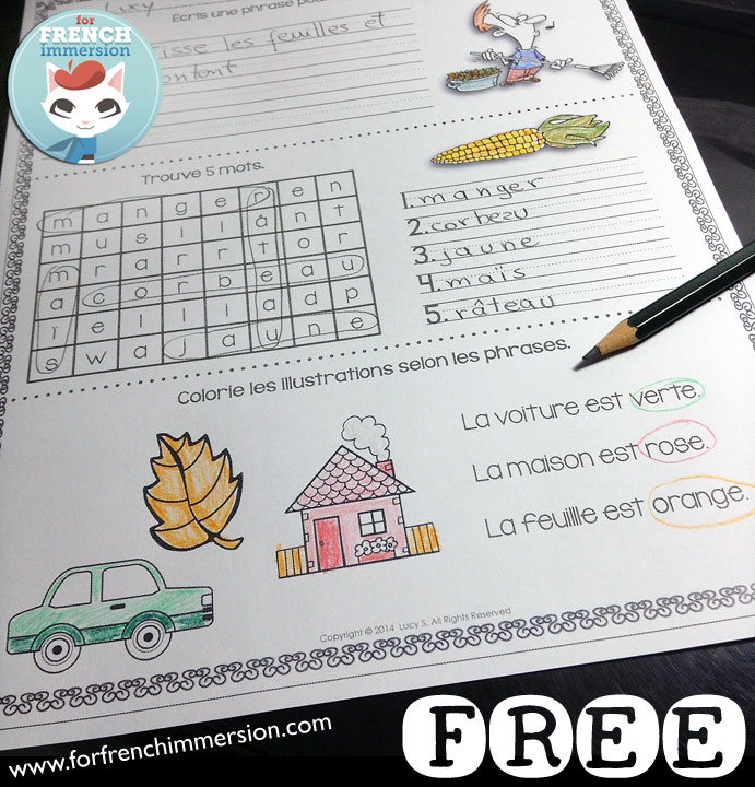 FREE French Morning Work Sample Worksheets - 10 no-prep printable sheets - en français
