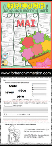 French Language Morning Work - 20 worksheets with exercises in French MAY - en français MAI
