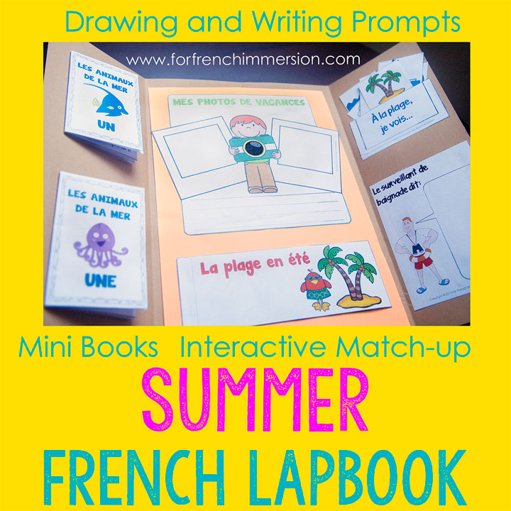French Summer Lapbook - interactive activities that will get your students to practice/review vocabulary, writing, and more!