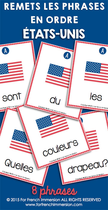 French Scrambled Sentences: your students will enjoy unscrambling these questions about the USA in French! And they'll get even more practice by answering the questions, too. Des phrases mêlées en français.