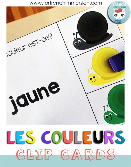 French Colors Clip Cards - first set gets students matching the color word to the right color snail. It's all about reading > understanding > choosing!