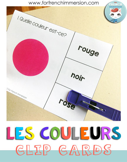 French Colors Clip Cards - second set gets students matching the color to its name. It's all about recognizing the color > remembering its name > choosing the right word!