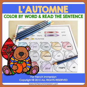 French Fall Color & Read: learning high-frequency words in French has never been more fun!