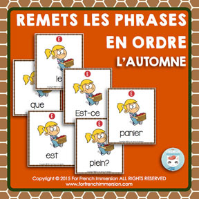 French Fall Scrambled Sentences: des phrases mêlées en français