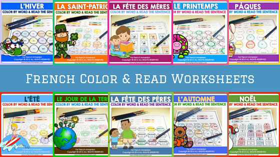 French Color by Word Worksheets - For French Immersion