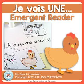 French Emergent Reader: Je vois UNE (animaux de la ferme). Livre pour les lecteurs débutants. En français.