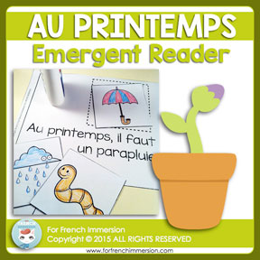 French Emergent Reader: Spring / Au printemps. Livre pour les lecteurs débutants. En français.