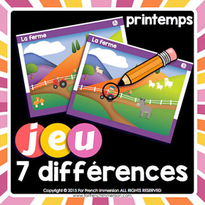 French Spring Game: find the 7 differences in the pictures. Great way to improve visual discrimination and writing/speaking French skills !