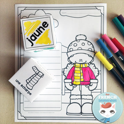 "FREE French winter clothing vocabulary coloring worksheet: roll and color – have students practice both vocabulary for ""les vêtements d'hiver"" as well as color words!"