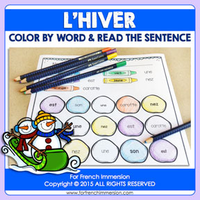 French Winter Color & Read: learning high-frequency words in French has never been more fun!