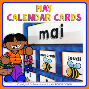 French calendar cards with tasks: MAY | MAI