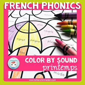 French spring color by sound worksheets: fun and engaging way for students to work on French phonics!