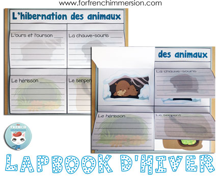 Lapbook d'hiver – French winter lapbook: writing prompts, vocabulary matching, interactive foldable activities, and more!