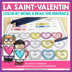 "French Saint Valentin resources: Valentine's Day Color & Read Worksheets: fun sight word practice. Perfect for ""la Saint-Valentin""!"