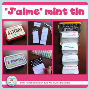 "French Saint-Valentin resources: FREE Valentine's Day Mint Tin Craft. Fun for ""la Saint-Valentin""!"