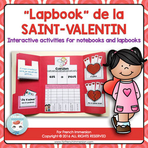 French Valentine's Day Lapbook: un dossier interactif pour la Saint-Valentin! Interactive foldable activities for your French Immersion or Core French classroom!