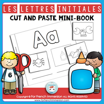 French Alphabet Resources: initial letters cut and paste mini-book. Les lettres initiales.