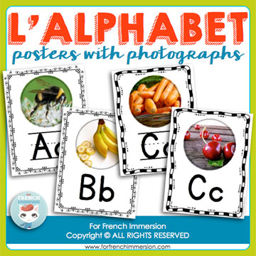 French Alphabet Resources: letter posters with photographs, with lined and unlined letters. Two posters for the letters C and G (dur and doux).