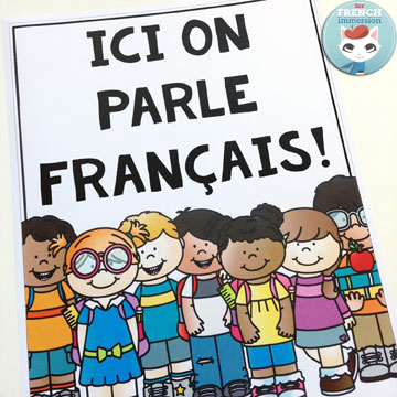 "French Back-to-school Resources: blog post with links to tons of FREE printables, videos for ""la rentrée scolaire"", and much more! (image: FREE ""Ici on parle français!"" poster)"
