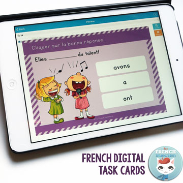 French Digital Task Cards: no more printing, cutting, laminating! All you need is a mobile device or computer. They're self-correcting, too! Click and learn more about Boom Cards!