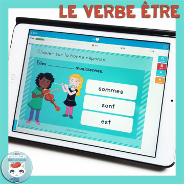 French Verbs Present Tense Practice: le verbe être au présent de l'indicatif. Self-correcting digital task cards for tablets and computers.