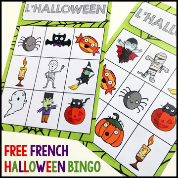 French Halloween Freebies and Videos: free BINGO cards that can also be used to play tic-tac-toe!