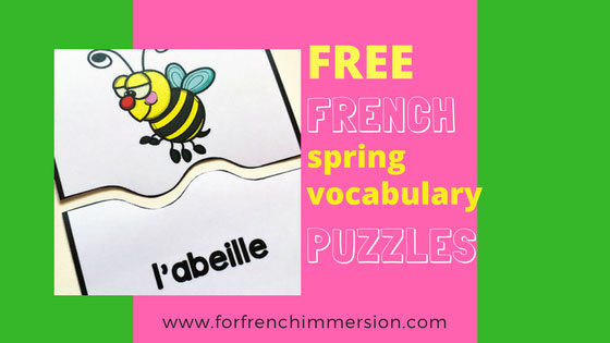 French Spring Vocabulary Puzzles - For French Immersion