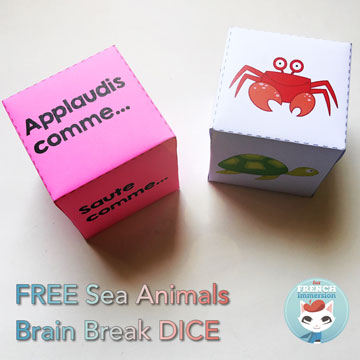 FREE French Brain Break Dice: sea animals. Students losing focus? Or just tired? Time for a brain break! Roll these dice and get your kiddos moving and re-focusing!