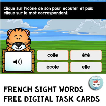 French Sight Words Digital Task Cards FREE sample: this set of Boom cards play on modern browsers (released in the last three years) on interactive whiteboards, computers and tablets. Boom Cards apps are also available. This is a sample of a bundle with 200 French sight words!