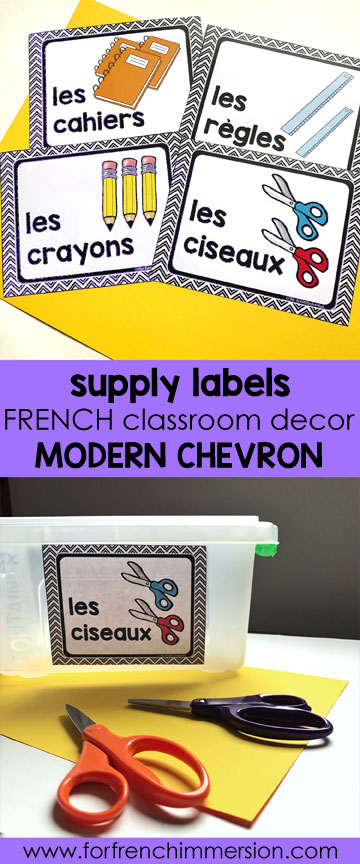 French Classroom Decor Modern Chevron: classroom supply labels in color and B&W. A beautifully-decorated French classroom with little to no color ink use!