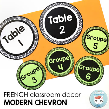 French Classroom Decor Modern Chevron: table/group number cards. A beautifully-decorated French classroom with little to no color ink use! B&W table number cards – print them on colorful paper for a striking effect!