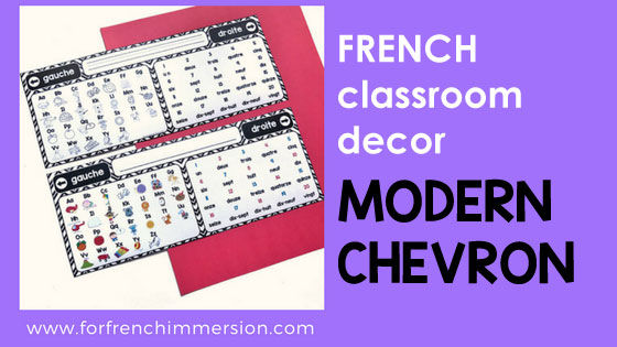 French Classroom Decor Modern Chevron: a beautifully-decorated French classroom with little color ink use!