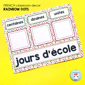 French Classroom Decor Rainbow Dots: days in school chart. Count up how many days you're in school as part of your calendar routine in the morning!