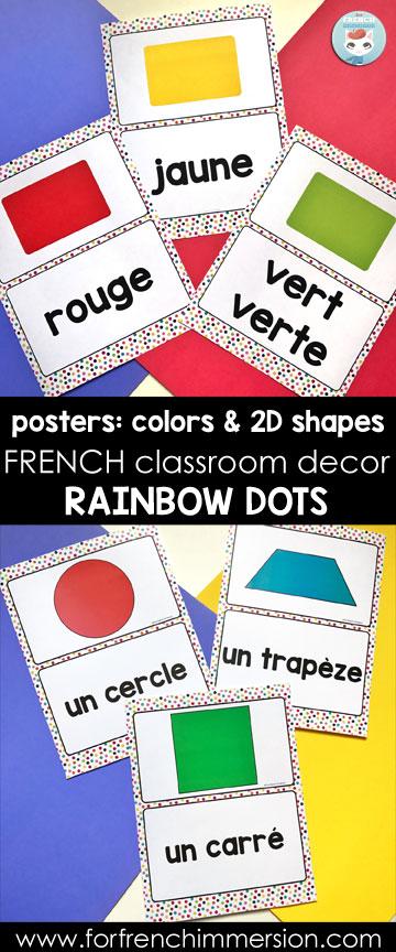 French Classroom Decor Rainbow Dots: 2D shapes and colors | affiches couleurs et formes géometriques