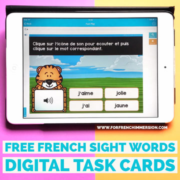 French Sight Words Digital FREEBIE: a sample set of audio digital task cards for your French classroom. Fun and effective way to practice French sight words (mots fréquents).