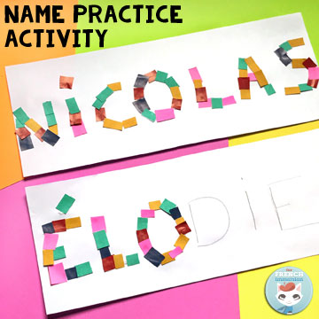 "French Classroom Name Practice Activities: name paper mosaic. Fun way for students to practice ""writing"" their names!"