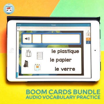 French Vocabulary Practice with audio digital task cards (Earth Day set): fun way to help your kiddos learn French words related to seasons and holidays! #frenchimmersion #corefrench #forfrenchimmersion #vocabulaire #jourdelaTerre #frenchearthday