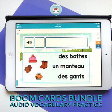 French Vocabulary Practice with audio digital task cards (winter set): fun way to help your kiddos learn French words related to seasons and holidays! #frenchimmersion #corefrench #forfrenchimmersion #vocabulaire