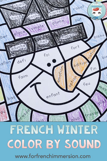 French Winter Color by Sound Worksheets: fun and engaging way to have students work on French phonics and develop critical thinking skills! Pour l'hiver | #coloriagemagique #frenchimmersion #frenchphonics #forfrenchimmersion