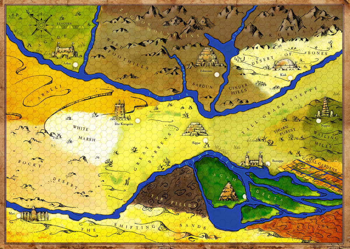 Hand Drawn Game Map Of Ancient Mesopotamia