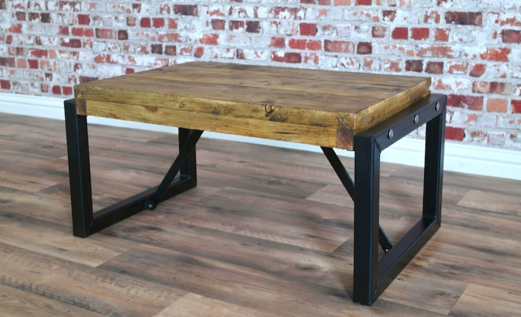 Industrial Coffee Table With Steel Frames And Reclaimed Wood