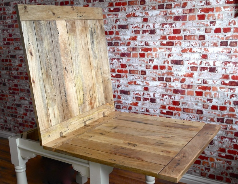 Extending Rustic Folding Dining Table Drop Leaf Space Saving Extendable