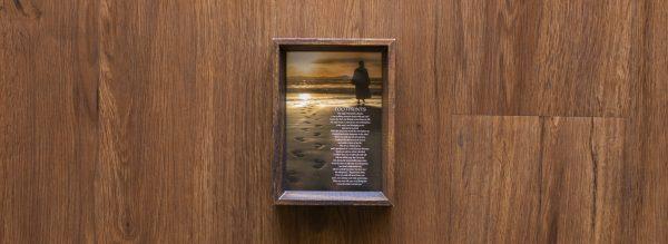 Footsteps Poem with Jesus in Wood Frame
